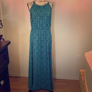 Gap | Aqua and Navy Printed Maxi Dress